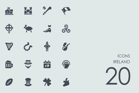 the irish image collection: Ireland vector set of modern simple icons