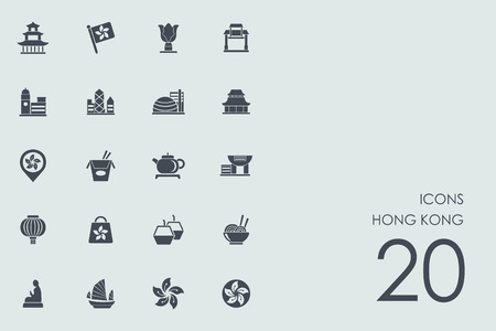 hong kong night: Hong Kong vector set of modern simple icons