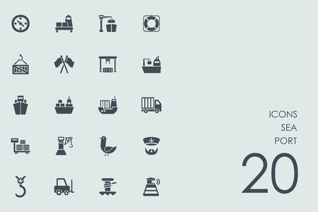 port: sea port vector set of modern simple icons Illustration