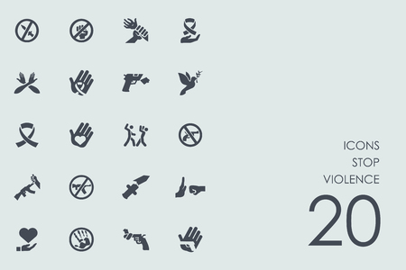 stop violence vector set of modern simple icons