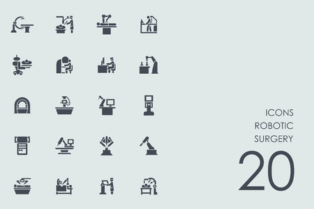 robotic surgery vector set of modern simple icons Vettoriali