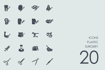 plastic surgery: plastic surgery vector set of modern simple icons