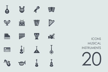 quartet: musical instruments vector set of modern simple icons
