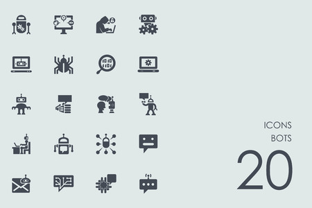 bots vector set of modern simple icons Иллюстрация