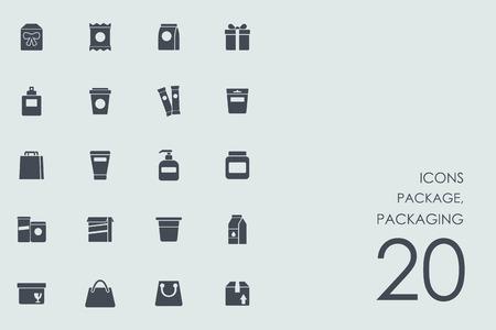 pacchetto, imballaggio vettore insieme di moderne semplici icone Vettoriali