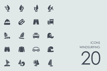 windsurfing: windsurfing vector set of modern simple icons Vectores