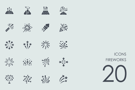 fireworks vector set of modern simple icons Stock Illustratie