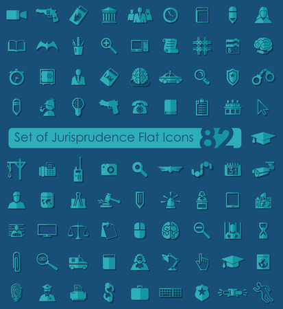 alibi: Set of jurisprudence flat icons for Web and Mobile Applications