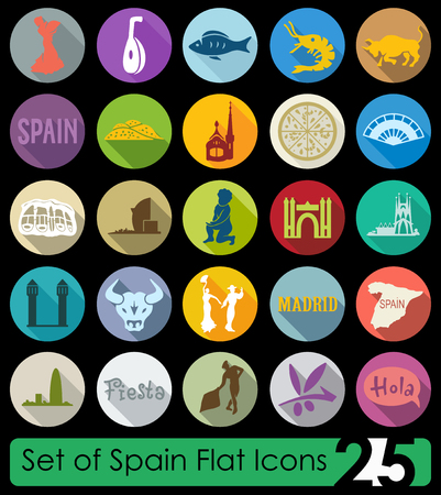 plateau: Set of Spain flat icons for Web and Mobile Applications