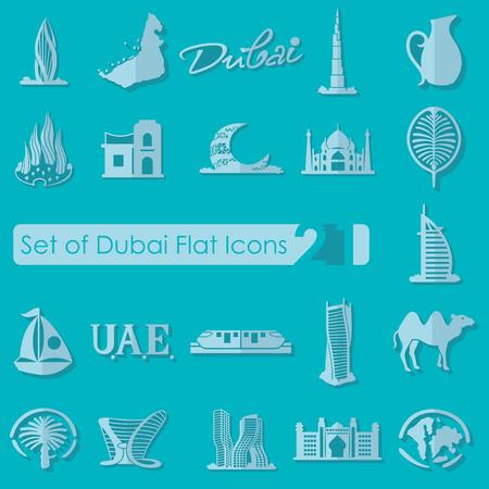 united arab emirate: Set of Dubai flat icons for Web and Mobile Applications Illustration