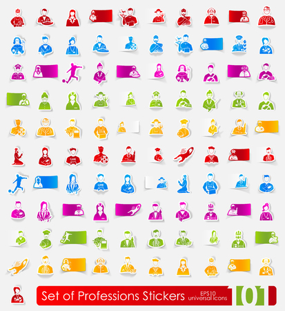 skills diversity: professions vector sticker icons with shadow. Paper cut