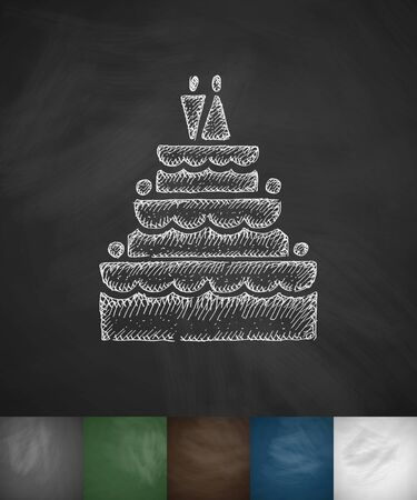 wedding cake icon. Hand drawn vector illustration. Chalkboard Design