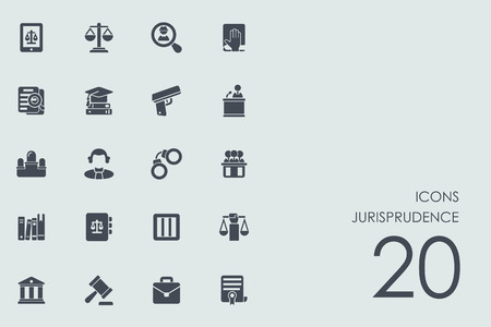 jurisprudence: jurisprudence vector set of modern simple icons Illustration