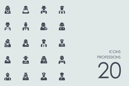 skills diversity: professions vector set of modern simple icons