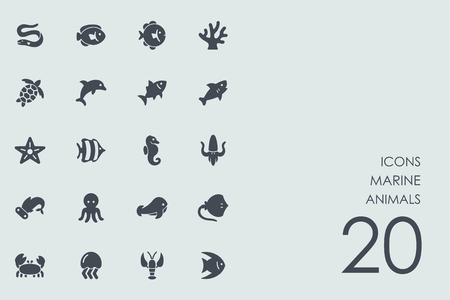 fish exhibition: Set of marine animals icons Illustration