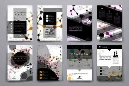 macromolecule: Set of brochure, poster design templates in DNA molecule style