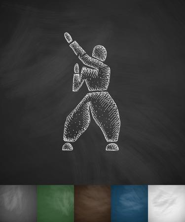 fighter icon. Hand drawn vector illustration