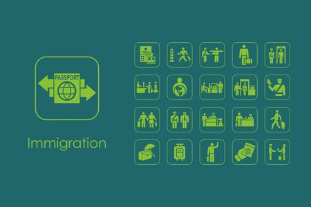 immigration: Set of immigration simple icons