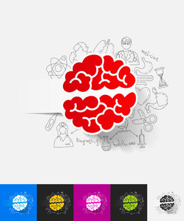pituitary: brain paper sticker with hand drawn elements Illustration