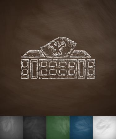 korean style house: house icon. Hand drawn vector illustration