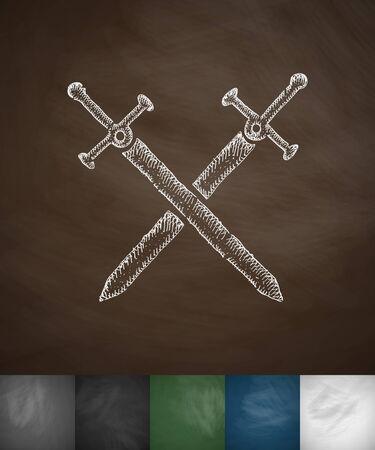 swords knight icon. Hand drawn vector illustration