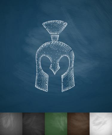 Helm knight icon. Hand drawn vector illustration Illustration