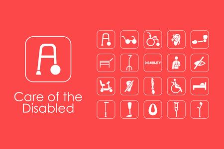Conjunto de personas con discapacidades iconos simples