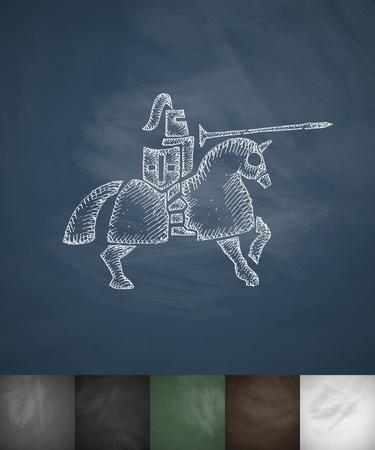 siege: knight on horse icon. Hand drawn vector illustration Illustration
