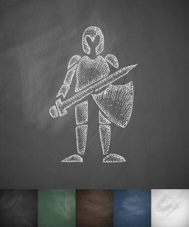 knight icon. Hand drawn vector illustration