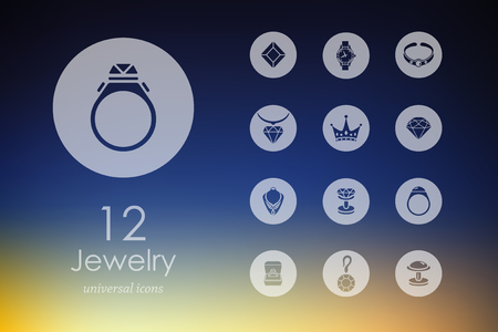 cufflink: Set of jewelry icons