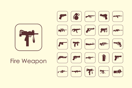 automat: Set of fire weapon simple icons