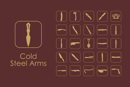 cold steel: Set of cold steel arms simple icons