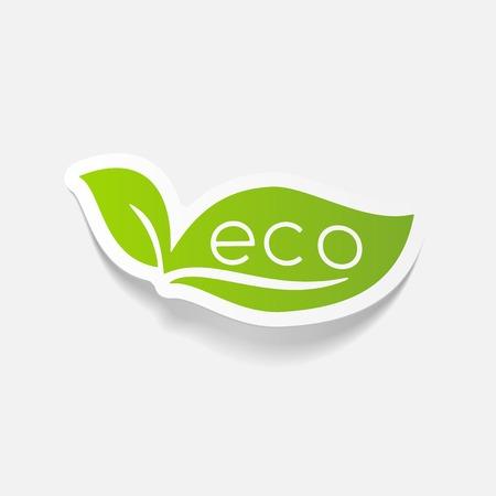 realistic design element: eco sign leaf