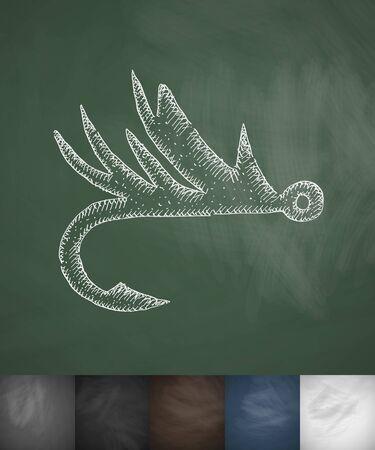 hook icon. Hand drawn vector illustration