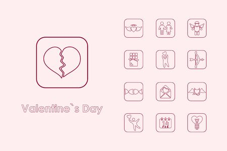 reciprocity: Set of Valentines Day simple icons
