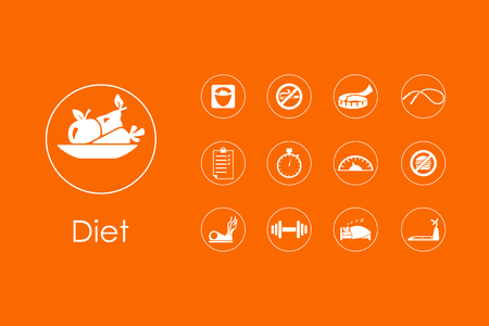 excess: Set of diet simple icons Illustration