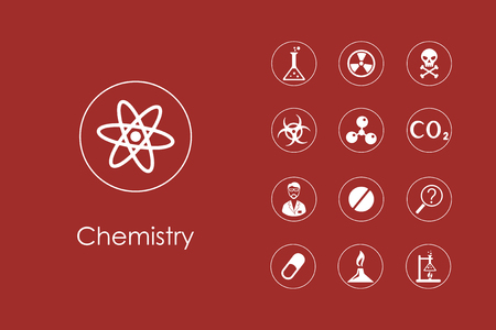implement: Set of chemistry simple icons