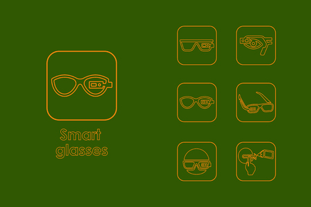 looking at computer screen: Set of high-tech glasses simple icons