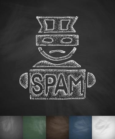 spammer: spammer icon. Hand drawn vector illustration