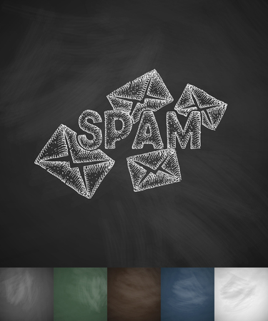 spam: Emails spam icon. Hand drawn vector illustration Illustration