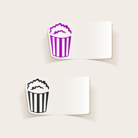 Lément de design réaliste: popcorn Banque d'images - 74058082