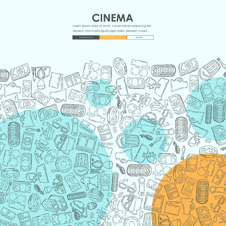 cinema Doodle Website Template Design Stock Vector - 75414407