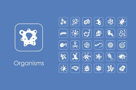 virus cell: Set of organisms simple icons Illustration