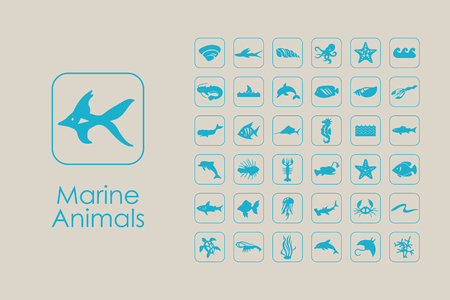 Set of marine animals simple icons Stock Vector - 75502697
