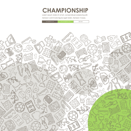 football Doodle Website Template Design Illustration