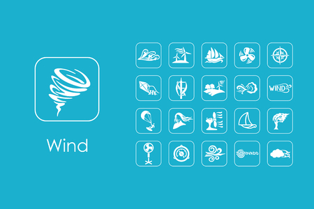 風のシンプルなアイコンのセット  イラスト・ベクター素材