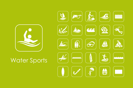 Set of water sports simple icons Illustration