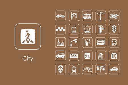 市シンプルなアイコンのセット