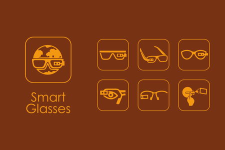 Set of smart glasses simple icons