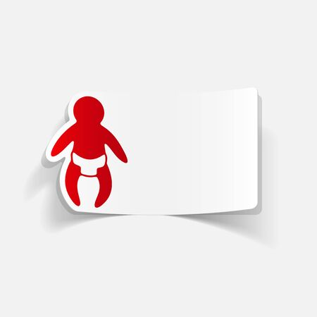funny baby: realistic design element: baby Illustration